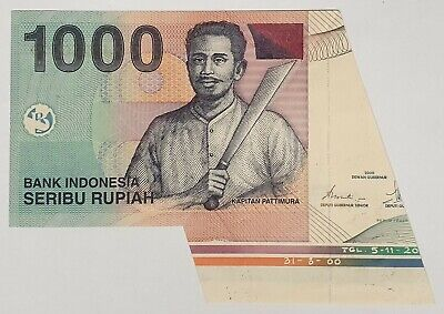 Indonesia 2000 ... 1000 Rupiah ... Misprint/ Error Half A Note