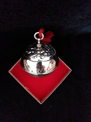 1985 Reed & Barton Silver Plated Annual Holly Bell Christmas Ornament