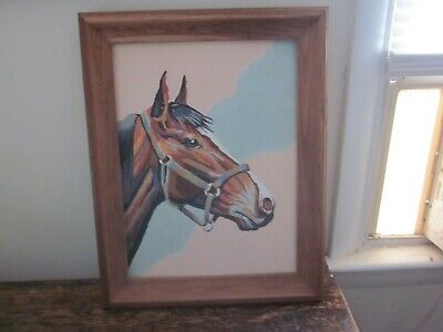 Vintage, Mid-Century Paint By Numbers Horse Painting Completed