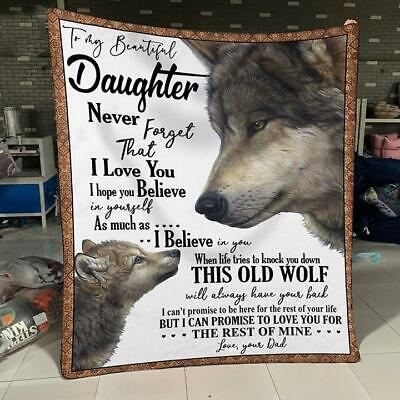 Daughter This Old Wolf Will Always Have Your Back Sofa Fleece Blanket 50-80