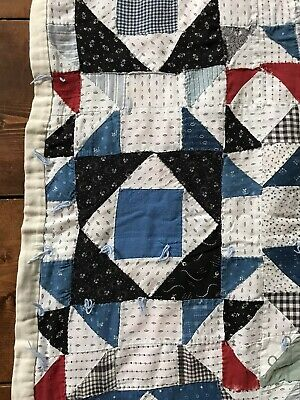 Old Antique Handmade Big Childs Quilt Red Blue Calico CUTTER CRAFT Textile AAFA