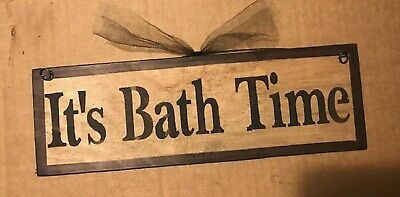 IT'S BATH TIME country primitive farmhouse wall art bathroom decor wooden sign