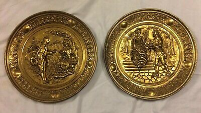 """2 Vintage Peerage England Brass Relief 14"""" Wall Plates Courtship Love Romance"""