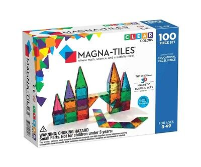 Valtech Magna Tiles Clear Color 3D Magnetic Building 100pc NIB