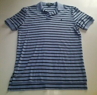 Polo By Ralph Lauren Mens Small Blue And Black Striped Polo With Short Sleeves