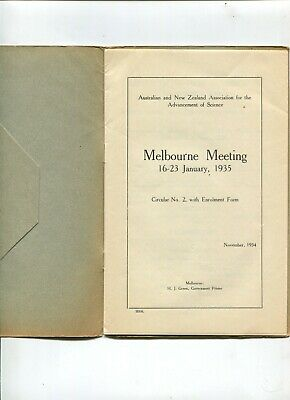 Aust Association Advancement of Science 1934 Melbourne Meeting  J