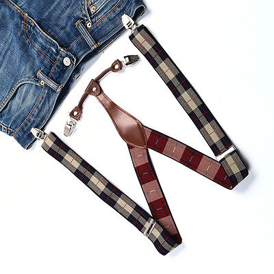 Braces Suspenders Unisex Mens Womens Adjustable Beige Red Checked Clip-on BD636