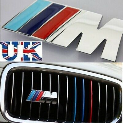 M Tech Color Silver Vehicles Front Grill Badge Alloy Sports Emblems Decals