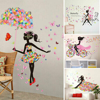 Lovely Wall Sticker Removable PVC Flower Fairy Girls Wall Decals Art Stickers UK