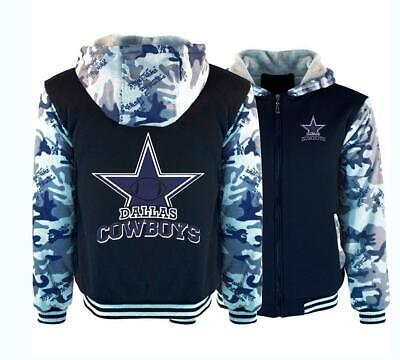 Dallas Cowboys Hoodie Thicken Fleece Coat Winter Warm Jacket Zip Up Sweatshirt