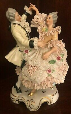Vtg Dresden Porcelain Lace Figurine Of A Man And Woman Dancing