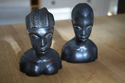 Pair Antique African Hand Carved Black Solid Wood Head and Shoulders Figurines