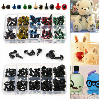 100X 6-12mm Plastic Safety Eyes for Bear Doll Puppet Plush Animal Toy DIY Craft