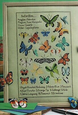Cross stitch chart.Butterfly Collection Sampler