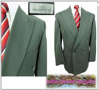 """M&S Double Breasted 2 piece mens suit Ch42""""R W36"""" L31"""" Green stripe Vintage"""