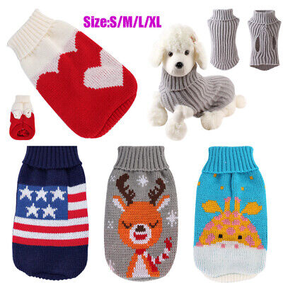 Cute Knitted Dog Jumper Pet Clothes Sweater Coat For Small Medium Dogs Apparel