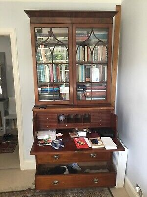 Antique George III Secretaire Bureau Mahogany Bookcase Desk 18th Century