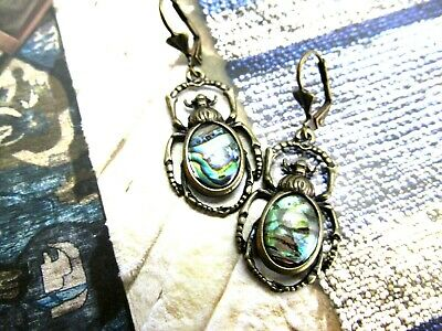 Scarab Earrings Long Dangle Egyptian Revival Earrings Bronze scarabs