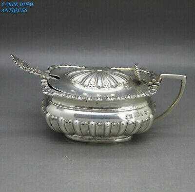 ANTIQUE GOOD HEAVY SOLID STERLING SILVER MUSTARD POT & SPOON 100g LONDON 1894