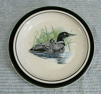 """Mom Baby on Back Loon Lake Scotty Z Folkcraft Stoneware 8"""" Salad Plate FREE S/H"""