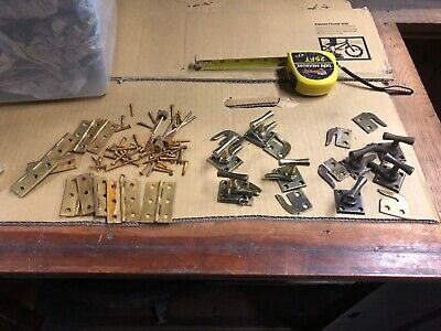 "Lot of 10 brass hinges & 8 door latch & catches - all for 1 price - 2.5"" hinges"
