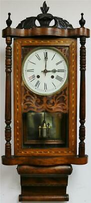 Antique 8 Day Inlaid Tunbridge Ware Walnut Bell Striking Drop Dial Wall Clock