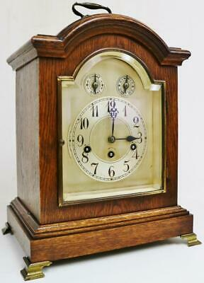 Antique Oak 3 Train 5 Gong Musical Westminster Chime Junghans Bracket Clock