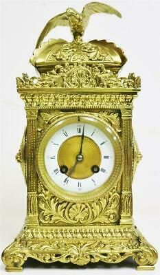 Stunning Antique French 8 Day Striking Embossed Bronze Cube Mantel Clock