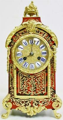 Stunning Deluxe Antique French Red Shell & Brass Inlaid Boulle Mantle Clock