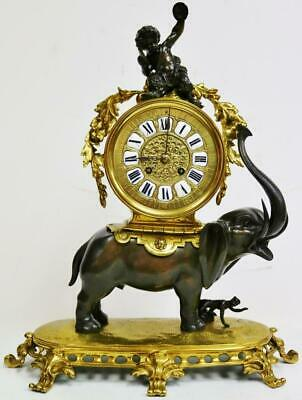 Very Rare Large Antique French 14 Day 2 Tone Bronze Ormolu Elephant Mantle Clock