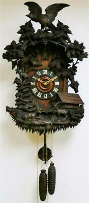 Huge Spectacular Antique Highly Heavily Carved Automaton Beha Cuckoo Wall Clock