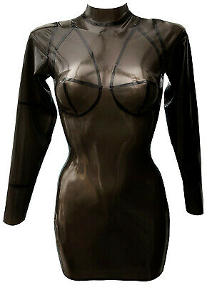 latex rubber gummi Dress sz 12-14s smokeytrans Latex Tailored boobs fetish kinky