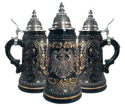 German Black Beer Stein with Pewter Eagle Crest .25L ONE Mug Made in Germany New