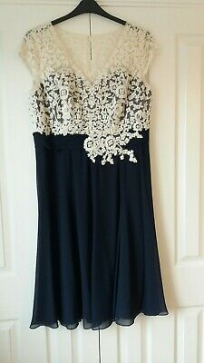 Jacques Vert Beautiful Mother Of The Bride Dress 18 Ivory Lace & Navy Chiffon