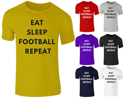 New Girls Boys Kids EAT SLEEP FOOTBALL REPEAT Funny Fan Gift T-Shirt Top 3-14