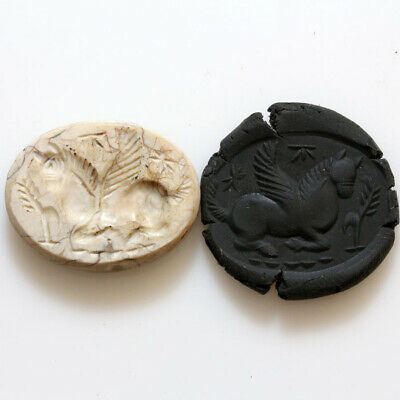Rare-Ancient Greek Aged Stone Bead Seal Depicting Pegasus Circa 100-50 Bc
