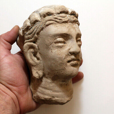 SCARCE-GANDHARA STUCCO FEMALE HEAD FRAGMENT TERRACOTTA 200-300AD-969 grams