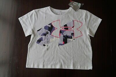 NWT NEW Under Armour Girls Youth Boxy T-shirt Top Tee White Sz L Large