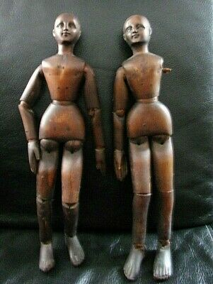 "13.5"" Antique Wooden pair articulated Artists Model Mannequin Lay Figure C.1860"