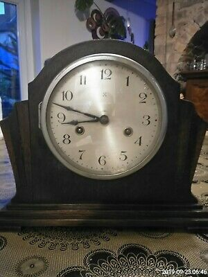 Art Deco Haller Oak Case 8 Day Striking Mantel Clock G. W. O