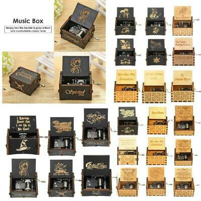 Vintage Exquisite Wooden Hand Cranked Music Box Home Crafts Children Toys Gifts
