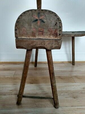 Antique 1894 Scandinavian Agricultural Threshing Stool