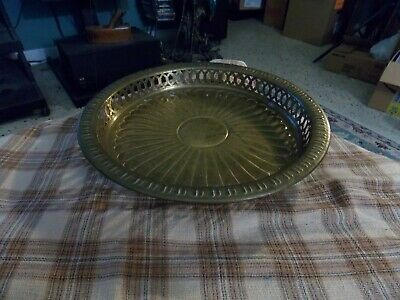 "Vintage SUNFLOWER EMBOSSED Brass Pierced Edge SERVING TRAY 10"" India VG !"