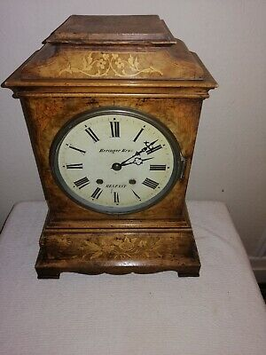 Victorian Bracket Clock in Beautiful Inlaid Walnut Case, Beringer Bros, Belfast.