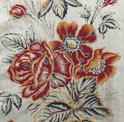 BEAUTIFUL MID 19th CENTURY FRENCH LINEN COTTON INDIENNE ROSES POPPIES 389