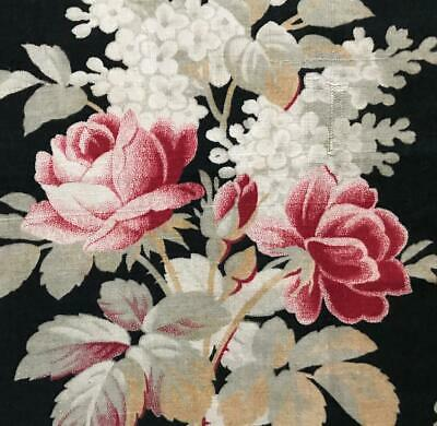 BEAUTIFUL 19th CENTURY FRENCH NAPOLEON III LINEN COTTON, PINK ROSES  c1870 390
