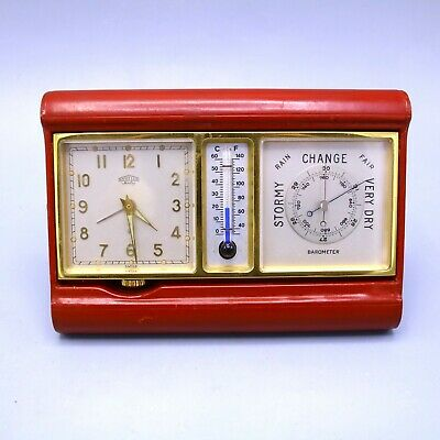 Vintage Rare Swiss Angelus Travel Clock Thermometer Weather Station Red Leather