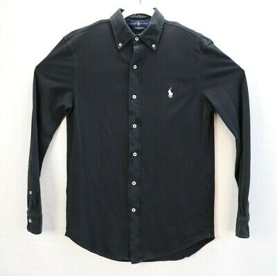 Ralph Lauren Featherweight Mesh Mens Size Small Black Shirt Long Sleeve EUC