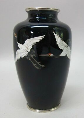 Fine Vintage JAPANESE ANDO CLOISONNE Vase  Red Crested Cranes  c. 1930  antique