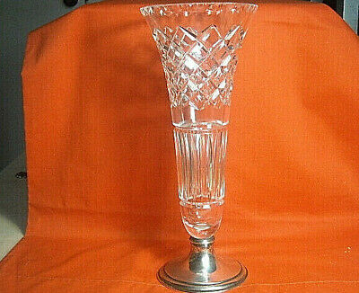 """Vintage Signed HAWKES Cut Glass 12"""" Tall Crystal Vase with Sterling Silver Base"""